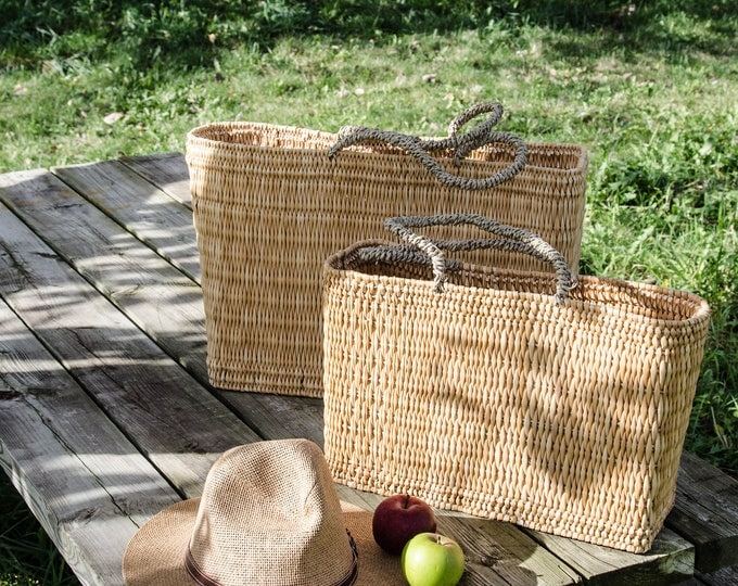 Market bags in rattan, natural-
