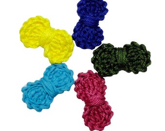 Crochet bows Pin - set of 5 ~3,5 cm - Clothes or shoes decorations, Mini crochet bows