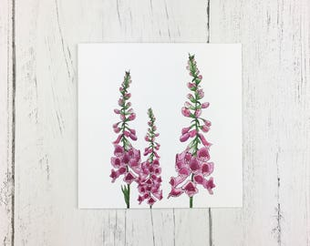 Foxglove Greetings Card For Birthday / Mothering Sunday / Invitation Card / Thank You Card /  Card For Friends / Blank Card / Floral Card