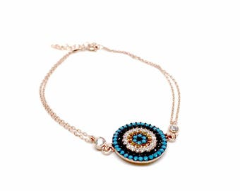 925 Sterling Silver Rose Gold Round mediterranean Bracelet, elegant Turkish design. Size 8 inches, gift box included, Women's birthday gifts