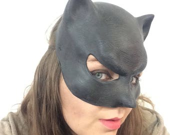 Latex Cat woman Mask Adult Superhero Fancy Dress Costume Halloween Cosplay Catwoman Fetish