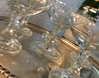 """Fabulous """"Made in Western Germany"""" Crystal Champagne Coupes, Set of 6, c. 1949.  The Perfect Toast!"""