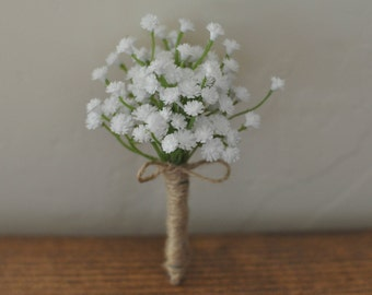 Faux Baby's Breath Boutonniere - Rustic Full Baby's Breath Groom / Groomsmen / Prom / Formal / Special Occasion Boutonniere