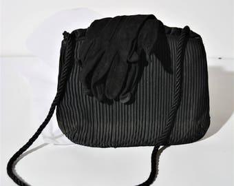 La Regale vintage black pleated evening clutch with shoulder strap