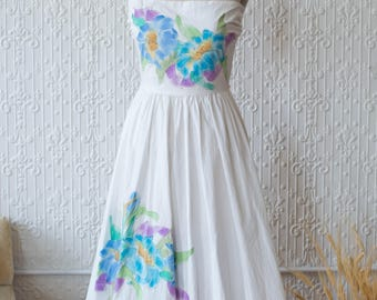 Cotton Bandeau Field Dress with Artist Signed Florals