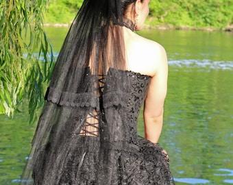 Romantic black veil with velvetrose, veil, black veil, gothicveil, veil with rose, velvetrose, laceveil, black wedding
