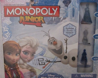 New Monopoly Junior Game Frozen Edition Board Disney Movie Kids Learning Fun Toy