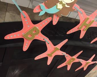 Mermaid Happy Birthday Banner, Mermaid Party, Coral and Teal Mermaid Banner