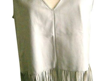 White Leather Fringed Pull-over