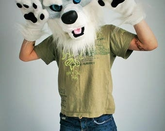 Wolf fursuit partial for kids, wolf mascot costume, wolf mask