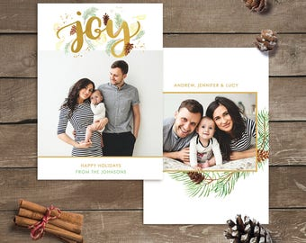 Christmas Card Template Joy, Christmas photo card template, Christmas card printable, Christmas cards photo template, personalized card