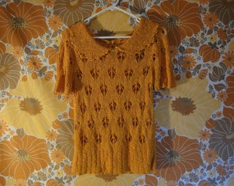 Groovy Orange Sweater Blouse