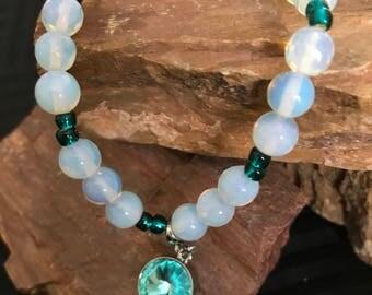 Moonstone & Blue-Green Crystal Charm Stretch Bracelet