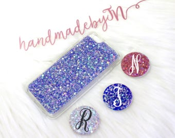Sparkle Glitter Pop socket Grip Phone Holder Ring Stand Pop Up Personalized Monogram initial Phone case for iPhone case Samsung galaxy