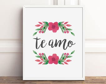 Te Amo PRINTABLE Art, Spanish Quotes, Bedroom Art, 8x10 I Love You, Master Bedroom Decor, Instant Download, Anniversary Gifts for Women
