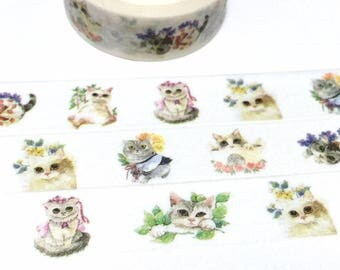pussy cat washi tape 5M flower cat cutest cat pretty kitten themed masking sticker tape cat diary cat drawing cat planner sticker gift decor