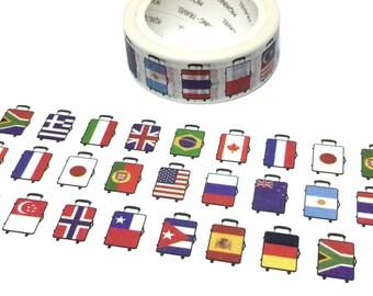 country flag pattern case luggage Washi tape 7M world flag theme luggage United states Germany Japan France Australia travel planner tape