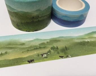 Grassland landscape washi tape 5Mx 3cm Green grass farm cow green view wide tape Masking tape Green world nature scenes sticker tape decor