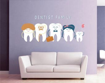 Teeth Wall Decal Tooth Wall Decal Family Dentist Dental Clinic Wall Decal  Orthodontist Dentist Wall Decal