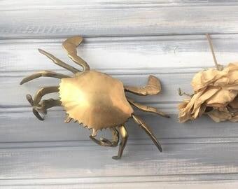 Brass Crab Figurine / Brass Sea Creature / Brass Crustation / Nautical Theme / Ocean Theme / Ocean Decor / Brass Decor / Brass Decoration