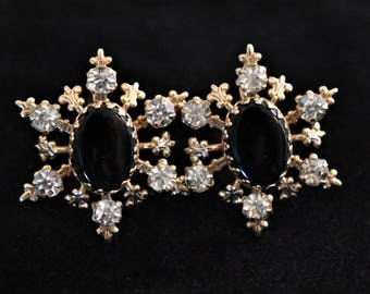 "Vintage 50s Rhinestone Snowflake Statement Earrings 1"" Screw Back Retro Holiday Christmas Costume Jewelry"