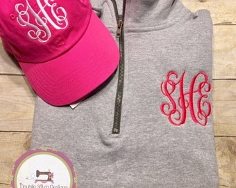 Monogrammed pullover, personalized quarter zip sweatshirt, monogrammed baseball hat, ballcap, plus size available, gift under 30