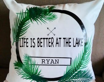 Life is better at the Lake Throw Pillow with Last Name and Palm Leaves