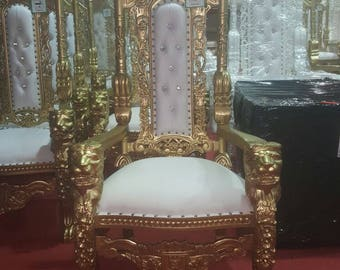 BRAND NEW   Lion King Queen Throne Chair Gold Leaf Gilded Gilt   Weddings Furniture  Thrones