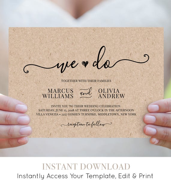 We Do Wedding Invitation Template, Printable Heart Wedding Invite, RSVP, Details Card, Instant Download, Editable, Modern Wedding #030A