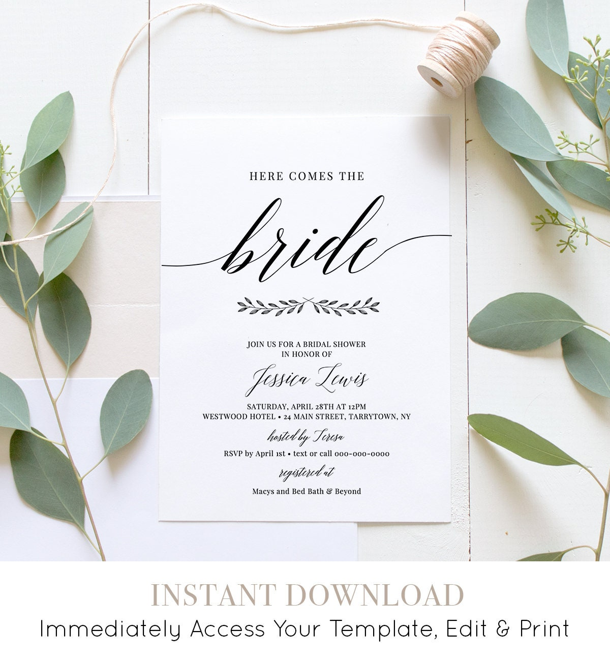 Bridal Shower Invitation Printable, Wedding Shower Invite Template, INSTANT  DOWNLOAD, 100% Editable, Simple Modern, DIY, Templett #034 121BS