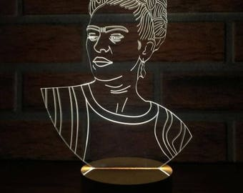 Frida Kahlo Lamp Design Light Decor Desk Lamp LED Light Acrylic Lamp LED Lamps Table Lamp Modern Lamp Home Decor Gift Idea