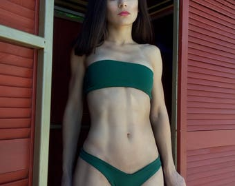 Seamless swimsuit Dark green Bandeau top + brazilian panties / Cheeky Bikini Brazilian Style / Two piece swimsuit