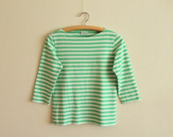 Vintage MARIMEKKO Shirt Nautical Top Light Green/White Striped Sailor Blouse 3/4 Sleeves Marine Sweater Small Size