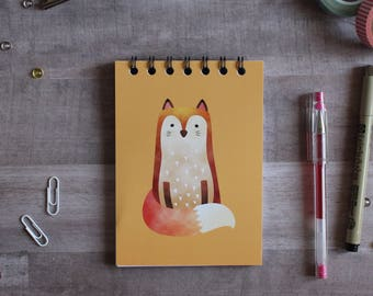 NOTEPAD. A6 Cute Fox Spiral Notepad. Soft 300 gsm Card Cover. 120 blank pages. Matte lamination pleasant to the touch.