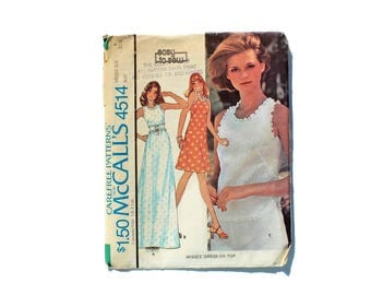 1970s Vintage Sewing Pattern - McCalls 4514 - Maxi Dress Summer Corset Blouse