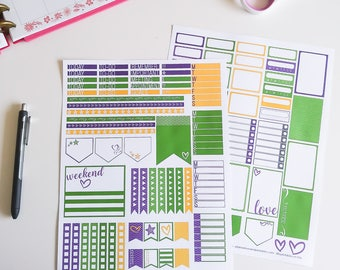 Mardi Gras Printable Planner Stickers - 2 page Weekly Kit with Mardi Gras theme, Sized for Classic Happy Planner, Digital Download