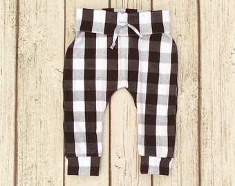 Grey Buffalo Plaid Leggings, Race Car Birthday Outfit, Gender Neutral Baby Clothes, Black and White Pants, Hipster Toddler Boy Clothes