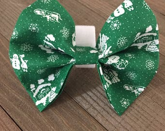Home for the Holidays Christmas Bow Tie, Holdiay Dog/Cat Bow Tie, Green Dog/Cat Bow Tie, Pet Dog Bow Tie