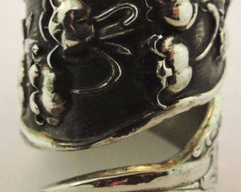Wallace Sterling Silver Floral Spoon Ring Size 6