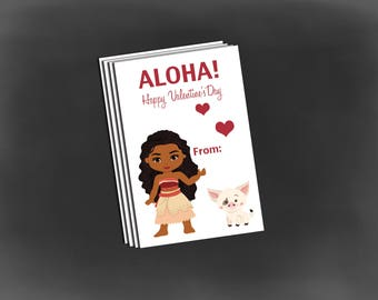 Moana Valentine tags, valentine school cards, Moana Valentine set of 12