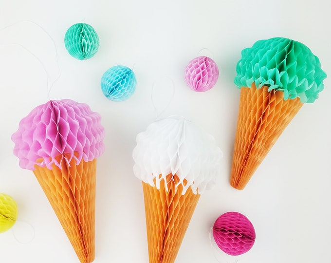 Ice Cream Party Cones from Honeycomb Tissue Paper in Mint Green, Pink & White