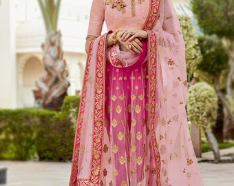 Kalidar Suit In Bright Pink Silk Fabric With Beautiful Embroidered Pant