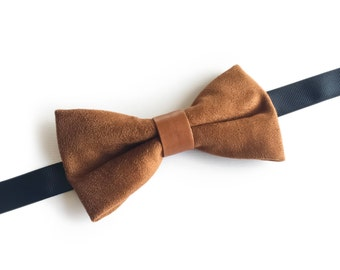 "Brown Suede Pre Tied Bow Tie ""Beernaert"", Best Handmade Gift For Men, Weddings, Birthday, Valentines Day"