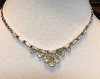 Vintage Silvertone Rhinestone Necklace Choker