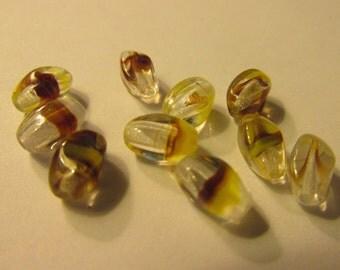 Polished Oval Czech Glass Beads, 8mm, Set of 10