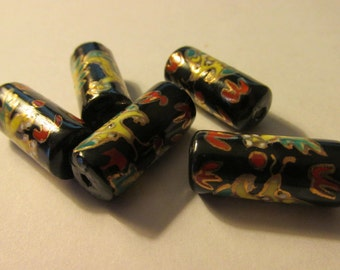 Chinese Hand Painted Porcelain Dragon Beads, 27mm x 10mm, Set of 5