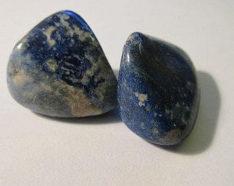 """Natural Blue and White Sodalite Tumbled Gemstone Nuggets, 1"""", Set of 2"""