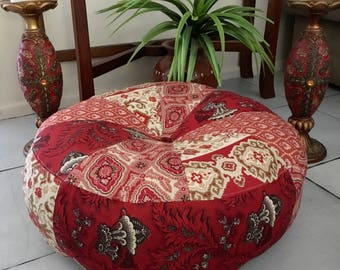 Unfilled 19 Inch Diameter Moulin Rouge Pouffe Cover, Made in Australia, Floor Cushion, Ottoman, Meditation Cushion, Boho, Pouf, Red, Gypsy