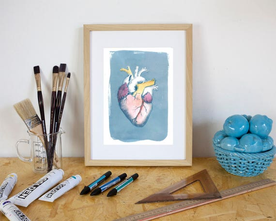Amazing Hand Painted Watercolor Heart on Cyanotype Print. A Vintage Touch!