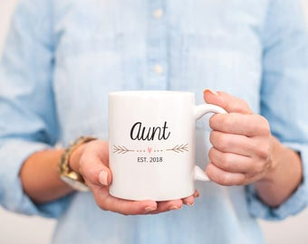 New Aunt Gift, Aunt Est 2018, Aunt Gift, Aunt Coffee Mug, New Aunt Mug, Gift for New Aunt, Aunt Mug, Pregnancy Reveal, MD580